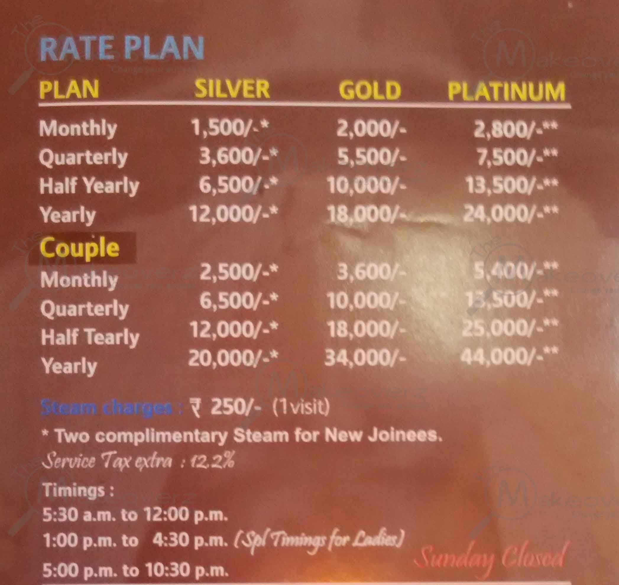 gymnasium rate plan