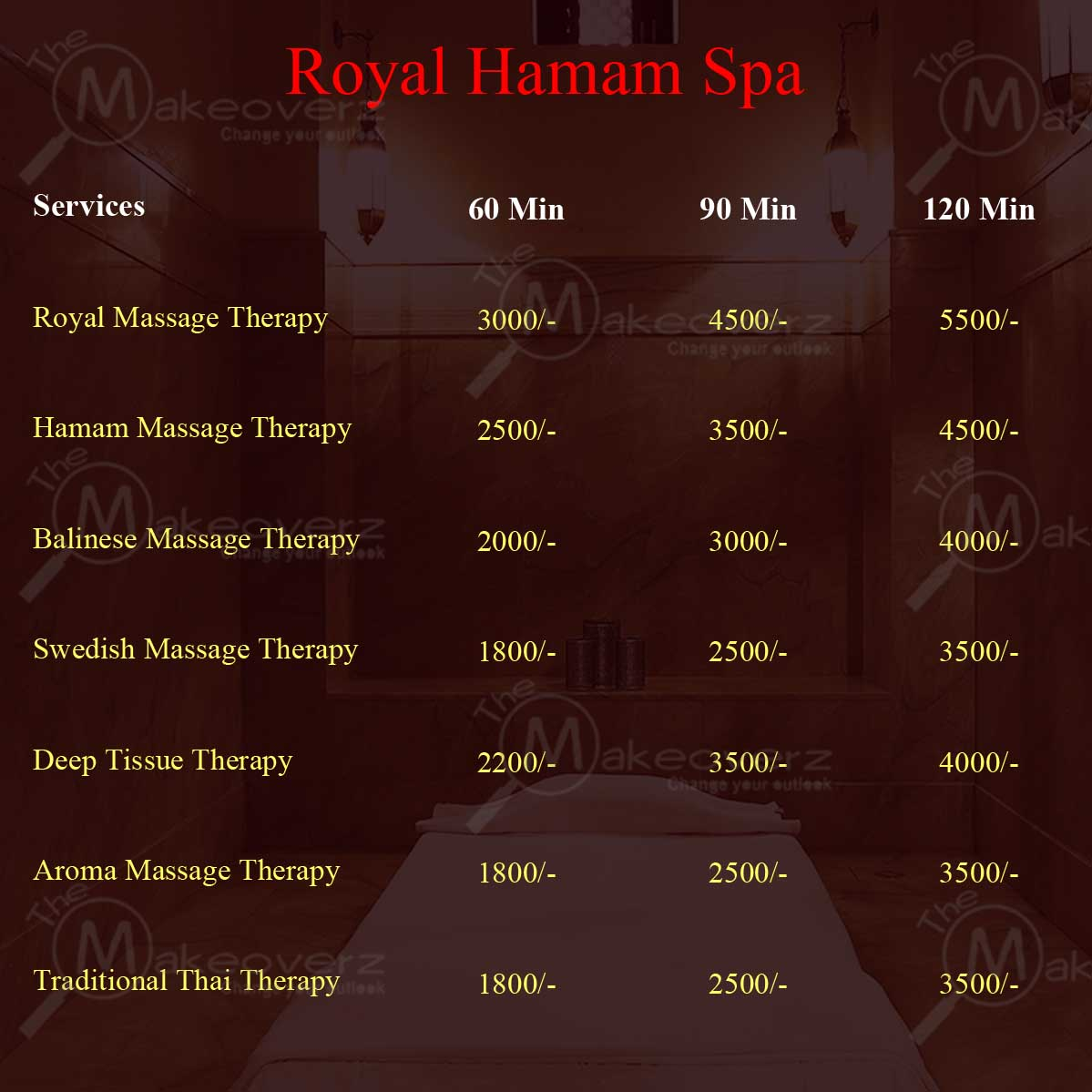 Royal Hamam - rate list