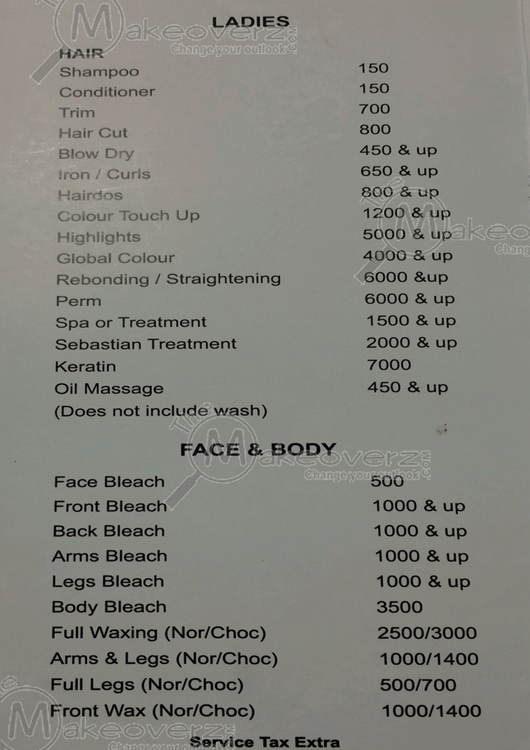 Rate List Affinity Salon Noida