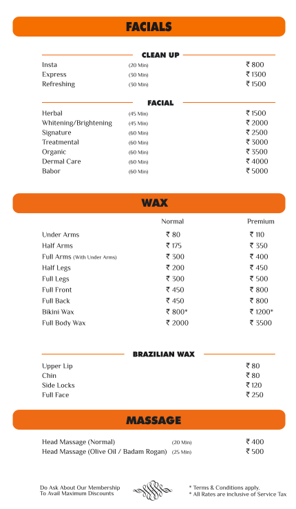 Cut & Style - Rate list